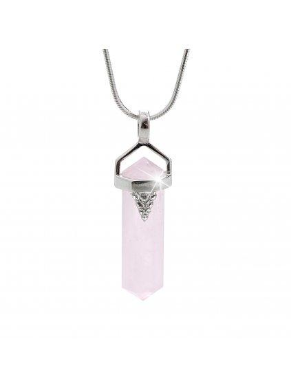 92300238rosaStříbrný náhrdelník Přírodní kámen Růženín Swarovski