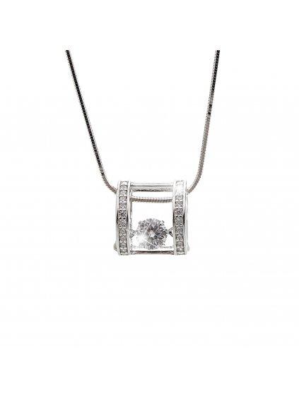 92300253crStříbrný náhrdelník Oblouček s tančícím zirkonem