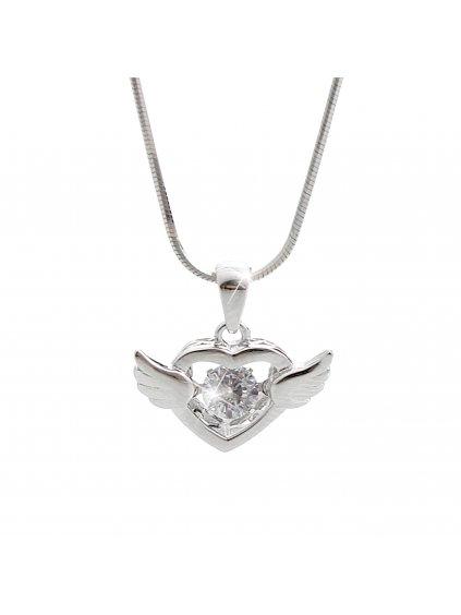 92300254crStříbrný náhrdelník Srdce s tančícím kamenem Swarovski