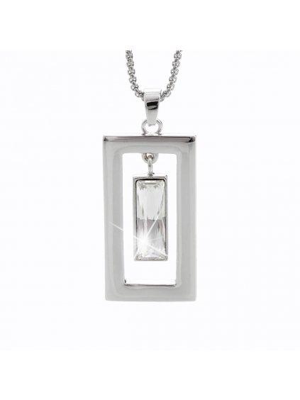 Náhrdelník Krystal v obdelníku s kameny Swarovski® Crystal
