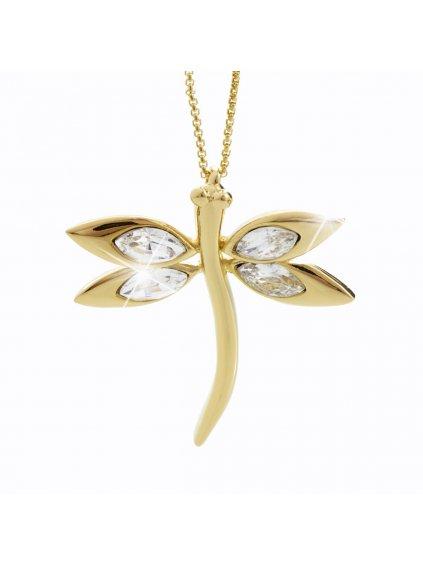 Náhrdelník Vážka s kameny Swarovski® Gold