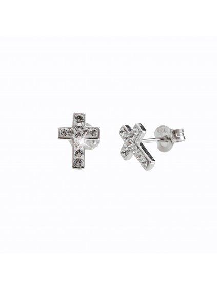 92400204crStříbrné náušnice Křížek Swarovski