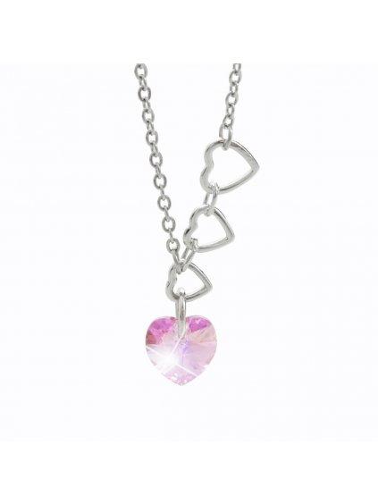 Náhrdelník 4 srdce s kameny Swarovski® Rose