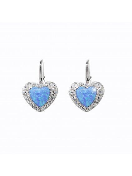 92400356blStříbrné náušnice Opálové Srdíčko Swarovski blue