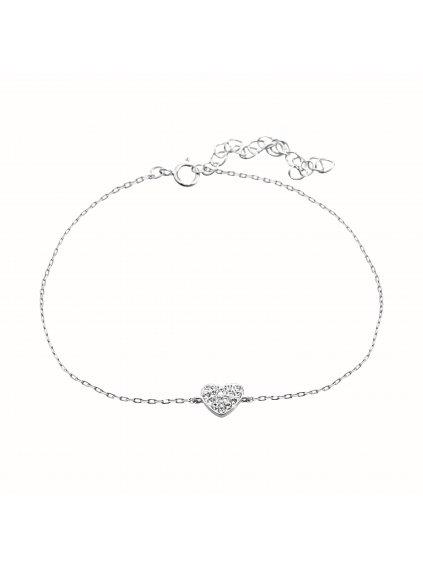 92500322crStříbrný náramek Srdíčko Swarovski crystal