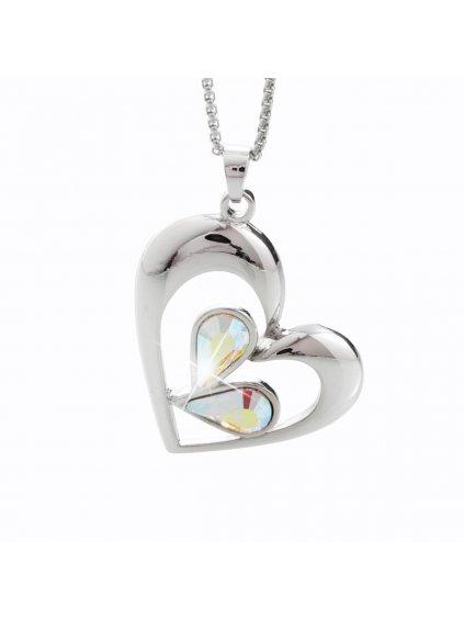 Náhrdelník Kapky v srdci s kameny Swarovski® Crystal AB