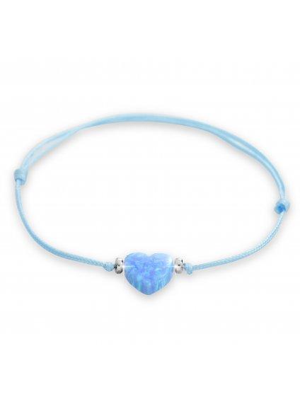 92500353blŠňůrkový náramek Srdíčko Opálové blue