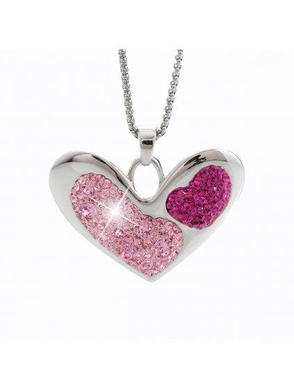 Náhrdelník Srdce s křišťálky Swarovski® Rose