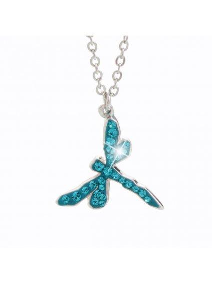 Náhrdelník Vážka s křišťálky Swarovski® Aquamarine