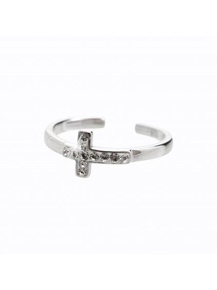 92700204crStříbrný prsten s Křížkem Swarovski