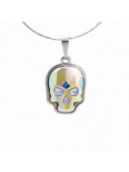 Náhrdelník Lebka malá s kameny Swarovski® Crystal AB