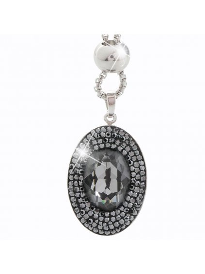 Náhrdelník Ovál s kameny Swarovski® Black diamond