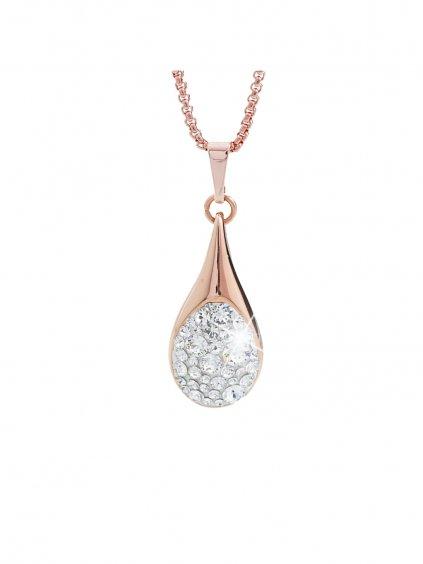 Ocelový náhrdelník Drop s kameny Swarovski® Rose gold Crystal 61300476rg