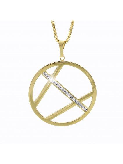 Ocelový náhrdelník Crack Swarovski® Crystal Gold 61300544g