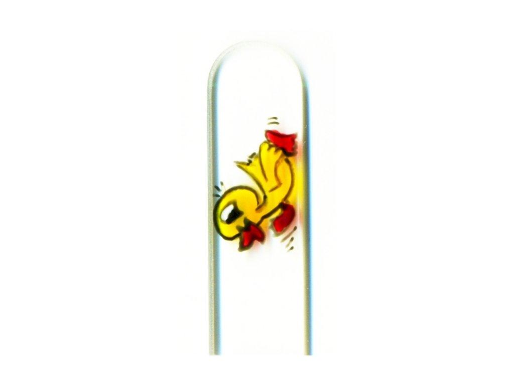 Skleněný pilník na nehty ručně malovaný 90 mm - Kačenka