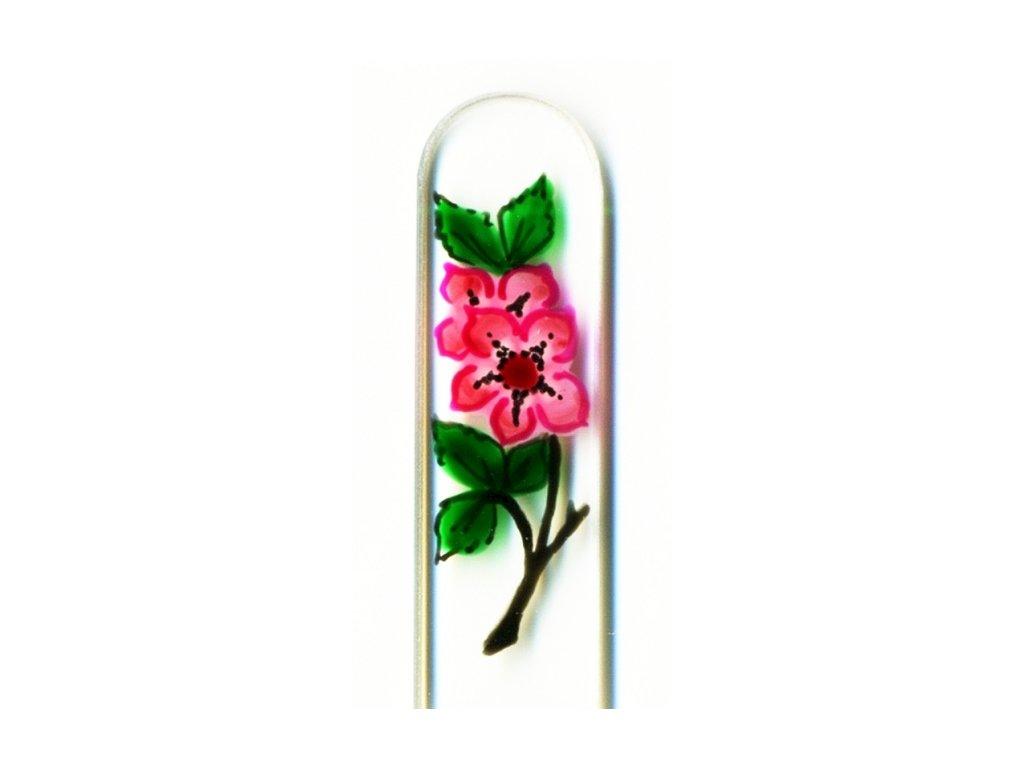 Skleněný pilník na nehty ručně malovaný 90 mm - Šípková růže