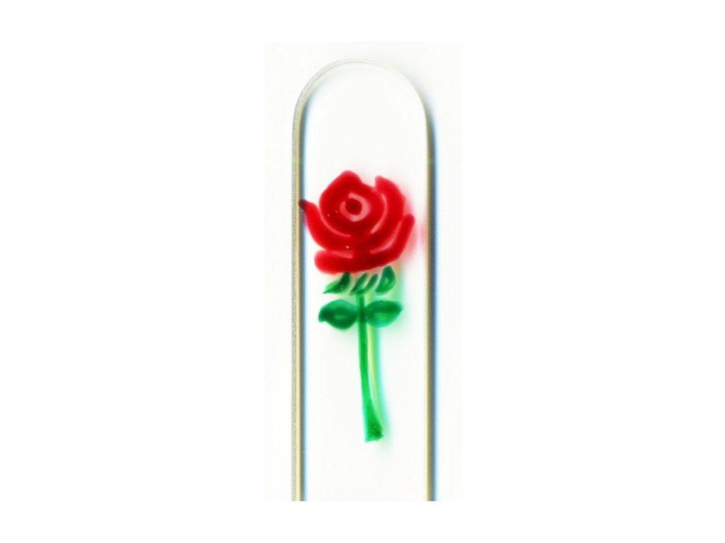 Skleněný pilník na nehty ručně malovaný 90 mm - Rudá růže