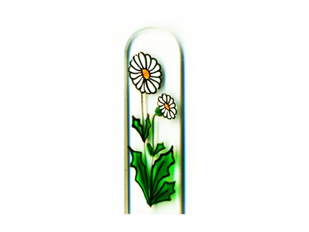 Skleněný pilník na nehty ručně malovaný 90 mm - Sedmikráska
