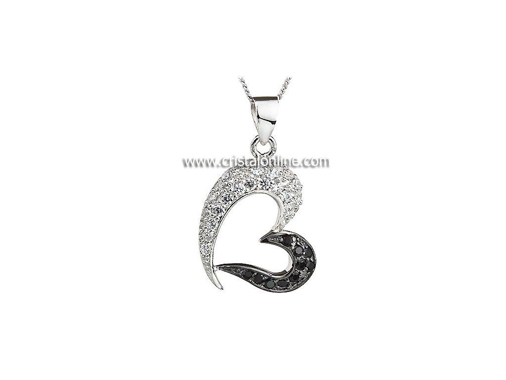 Přívěsek se zirkony na stříbrném řetízku Sweety v černé a křišťálové barvě - 5046 00
