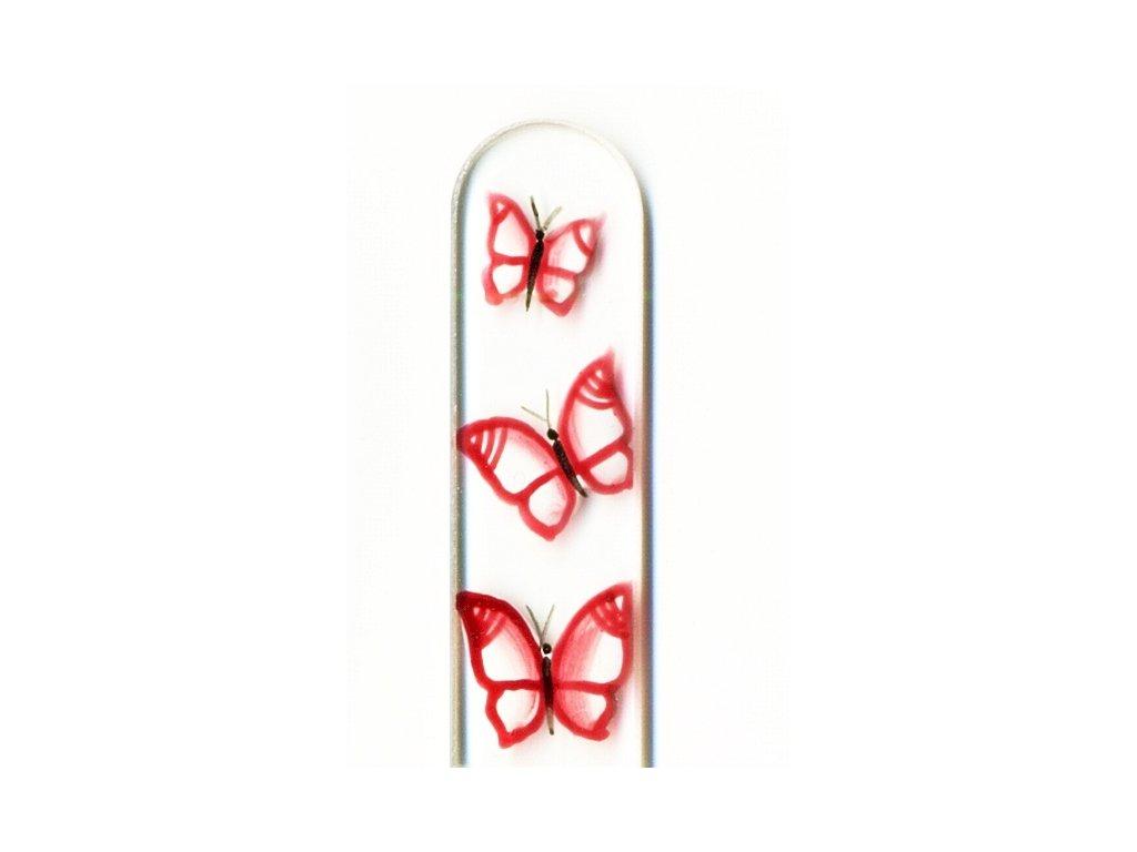 Skleněný pilník na nehty ručně malovaný 135 mm - Červení motýlci