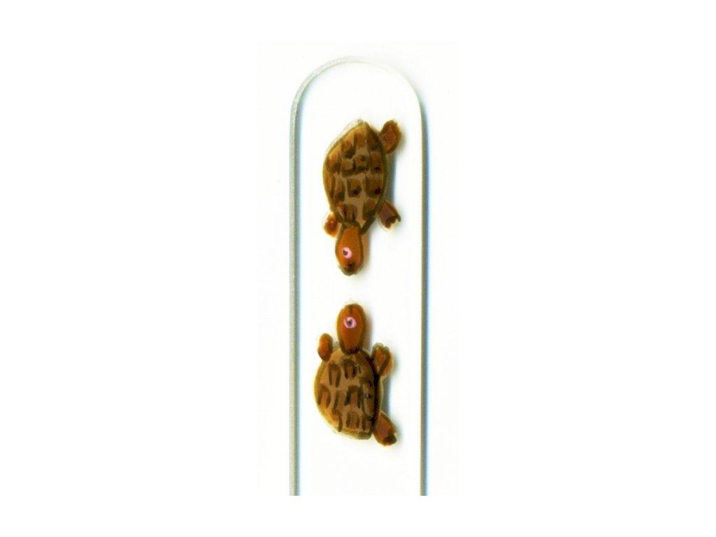 Skleněný pilník na nehty ručně malovaný 135 mm - Želvy