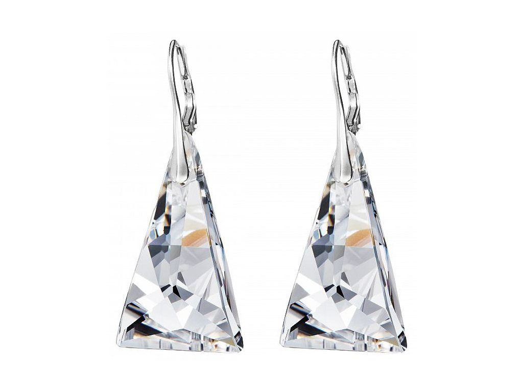 Náušnice z broušeného skla Crystal Pyramid v křišťálové barvě od firmy Preciosa