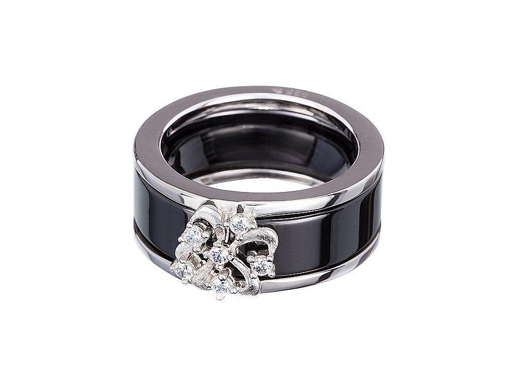 Stříbrný prsten Novel v černé barvě od firmy Preciosa