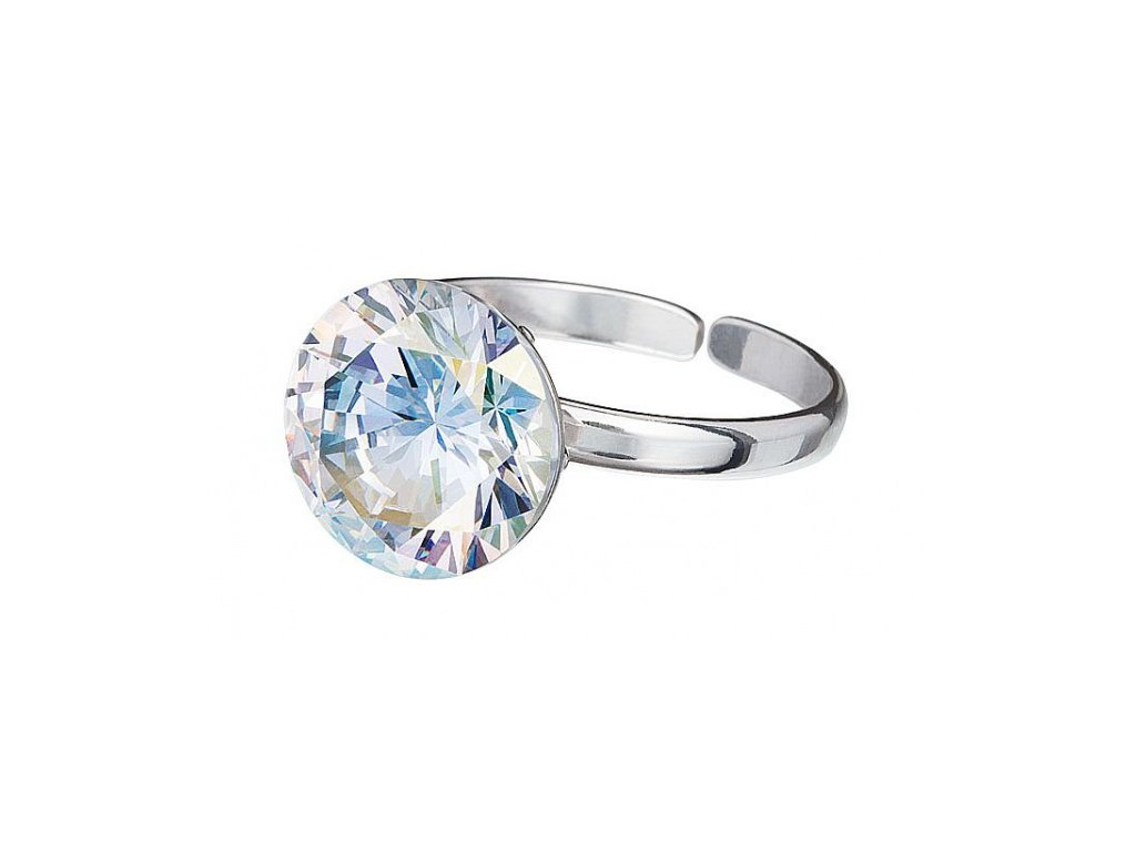 Stříbrný prsten z broušeného skla Starry v barvě duhy Crystal AB od firmy Preciosa
