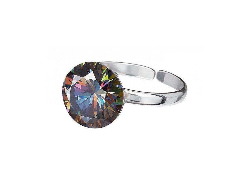 Stříbrný prsten z broušeného skla Starry v barvě duhy Vitrail Medium od firmy Preciosa