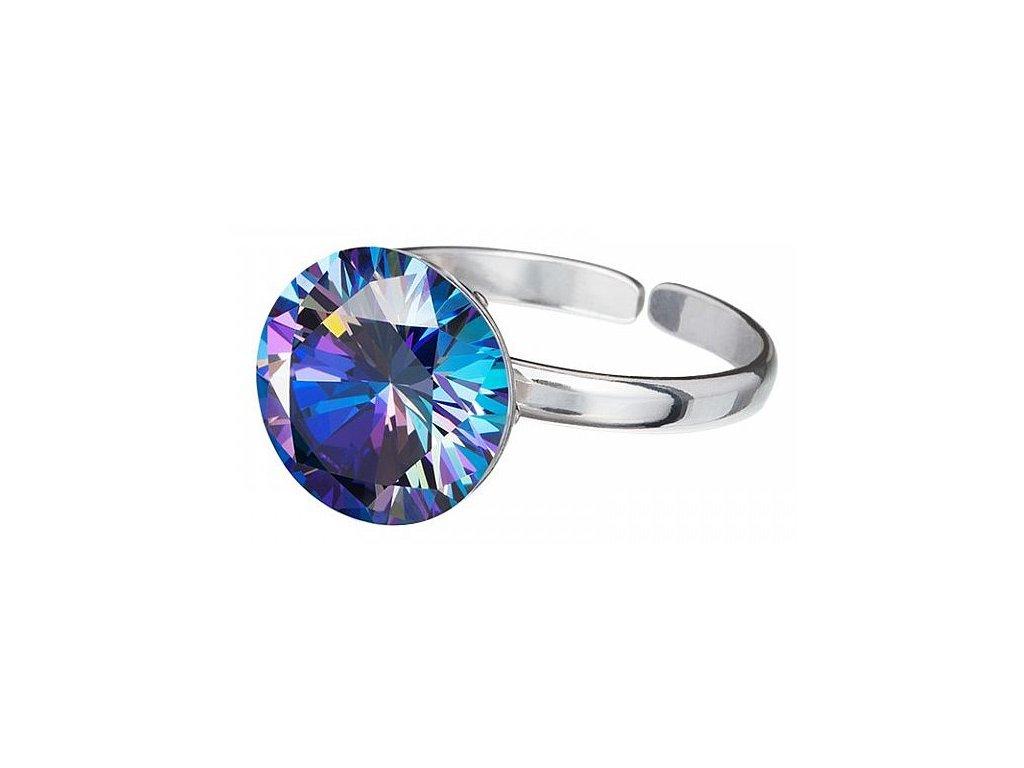 Stříbrný prsten z broušeného skla Starry v modré barvě od firmy Preciosa