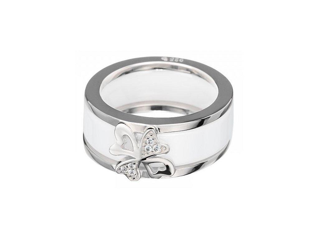 Stříbrný prsten Vogue v bílé barvě od firmy Preciosa