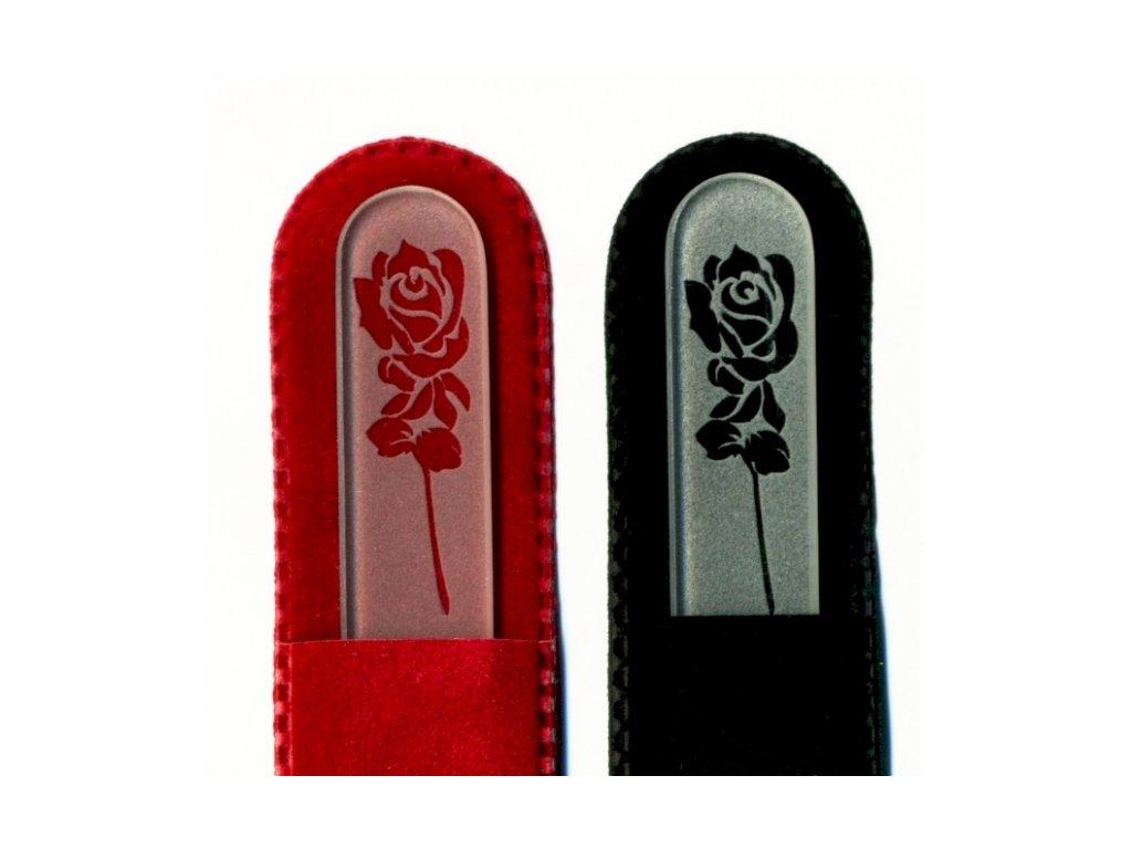 Skleněný pilník na nehty pískovaný 90 mm - Rozkvetlá růže - ledový vzor