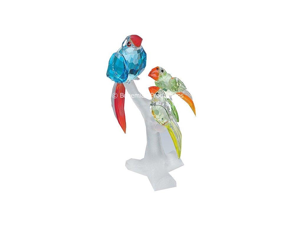 Skleněné figurky z broušeného křišťálu Sklo Bohemia - Papouščí rodina