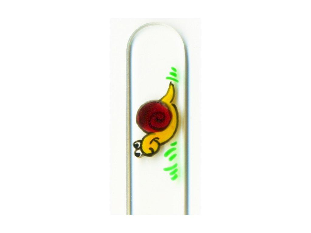 Skleněný pilník na nehty ručně malovaný 135 mm - Šnek