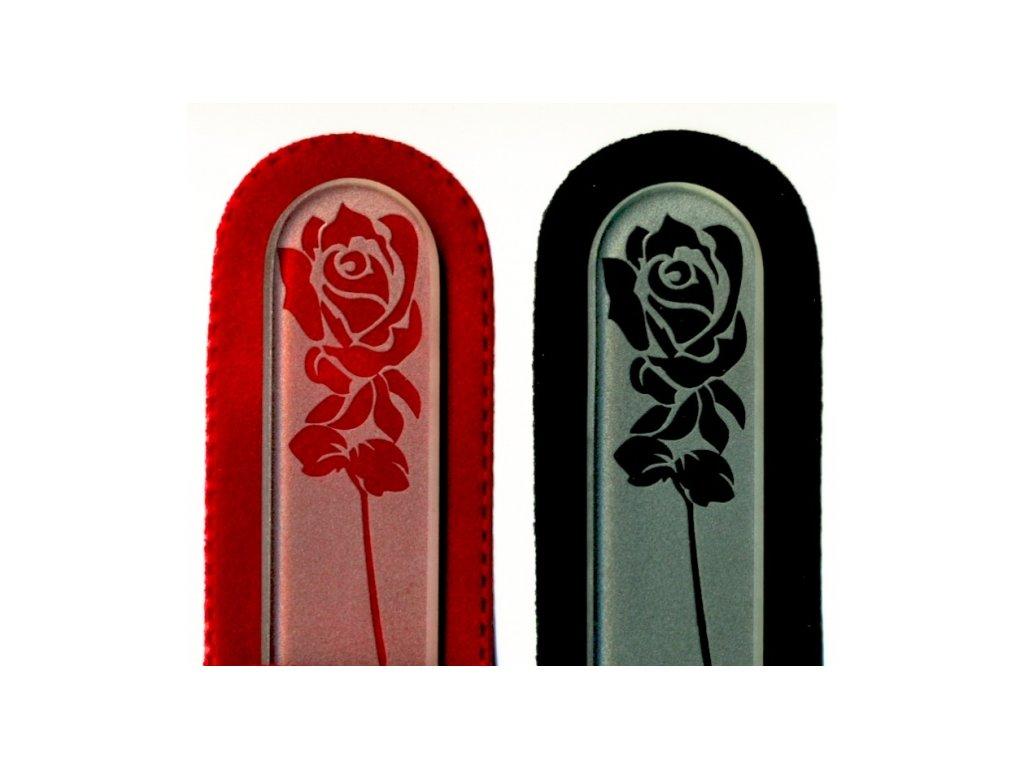 Skleněný pilník na nehty pískovaný profesionální manikúra - Rozkvetlá růže - ledový design