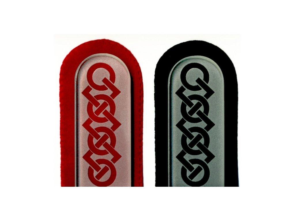 Skleněný pilník na nehty pískovaný pedikúra - Kruhy a čtverce - ledový design