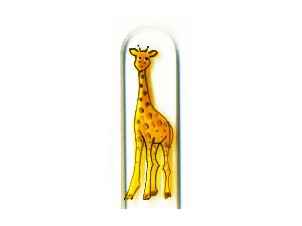 Skleněný pilník na nehty ručně malovaný 135 mm - Žirafa
