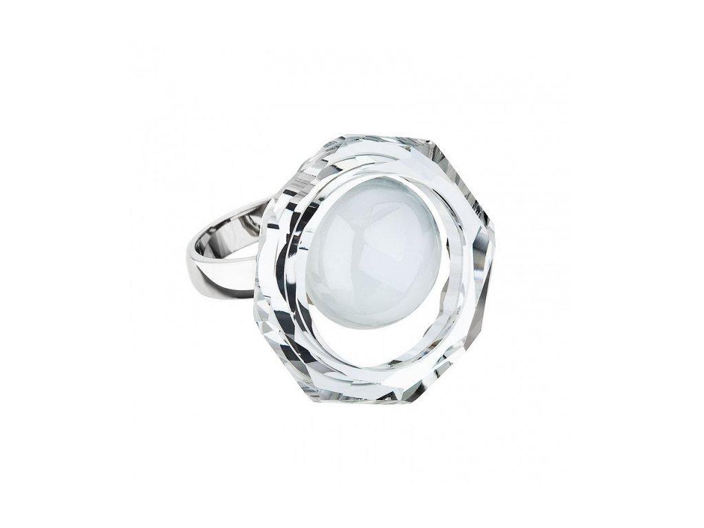 Prsten z broušeného skla Kacy v bílé barvě od firmy Preciosa