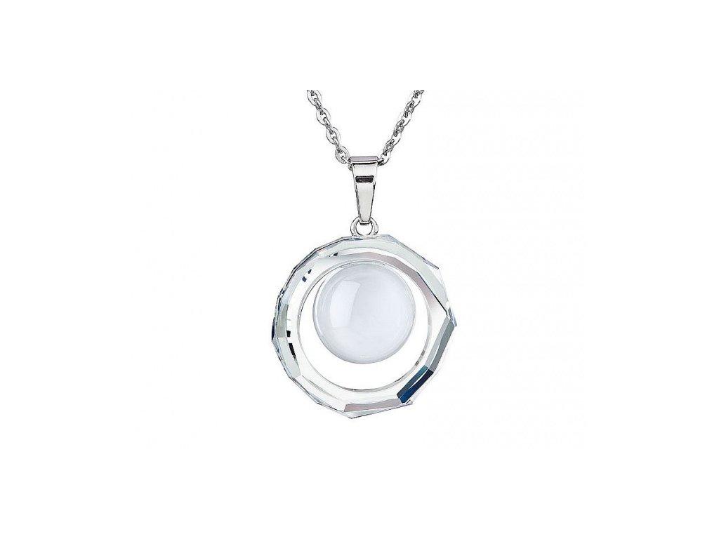 Přívěsek z broušeného skla Kacy v bílé barvě od firmy Preciosa