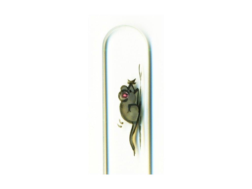 Skleněný pilník na nehty ručně malovaný 135 mm - Myška