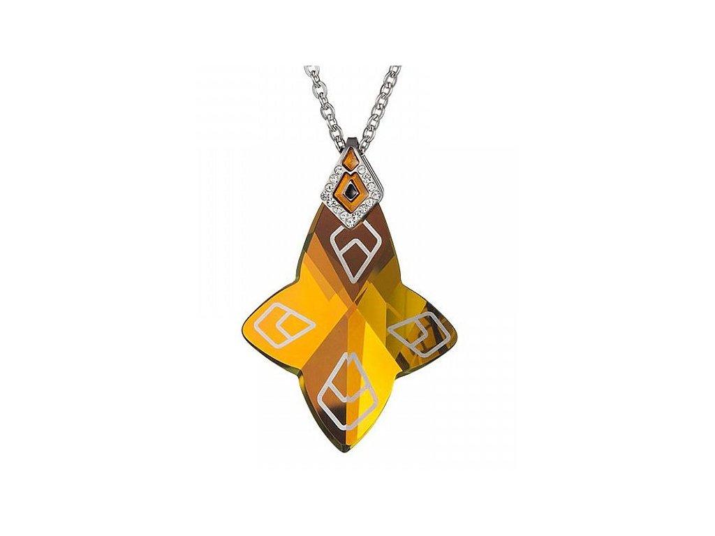 Přívěsek z broušeného skla Larisa v odstínech žluté a hnědé od firmy Preciosa