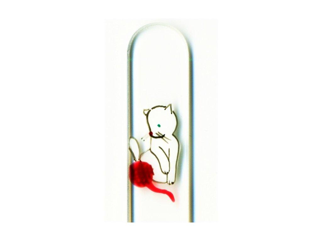 Skleněný pilník na nehty ručně malovaný 135 mm - Bílé koťátko s klubíčkem