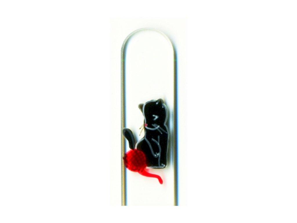 Skleněný pilník na nehty ručně malovaný 135 mm - Černé koťátko s klubíčkem