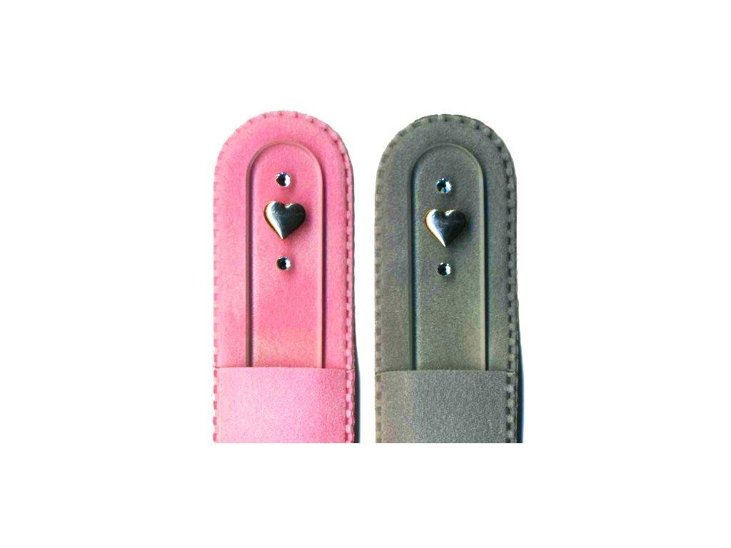 Skleněný pilník na nehty 135 mm se stříbrnou miniaturou Ag 925 a Swarovski - Srdce