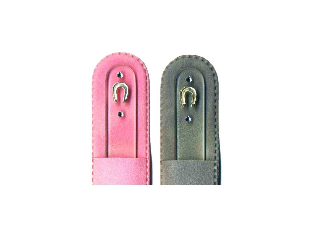 Skleněný pilník na nehty 135 mm se stříbrnou miniaturou Ag 925 a Swarovski - Podkova pro štěstí