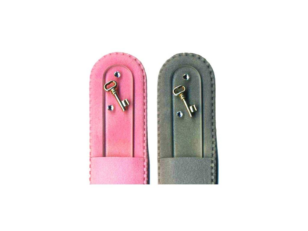 Skleněný pilník na nehty 135 mm se stříbrnou miniaturou Ag 925 a Swarovski - Klíč