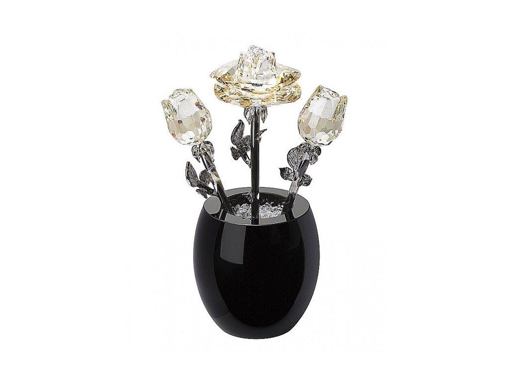 Broušená kytka s vázou  Křišťálový puget