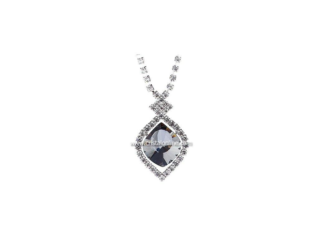 Štrasový náhrdelník s broušeným kamenem Cassiopeia v barvě chromu od firmy Preciosa