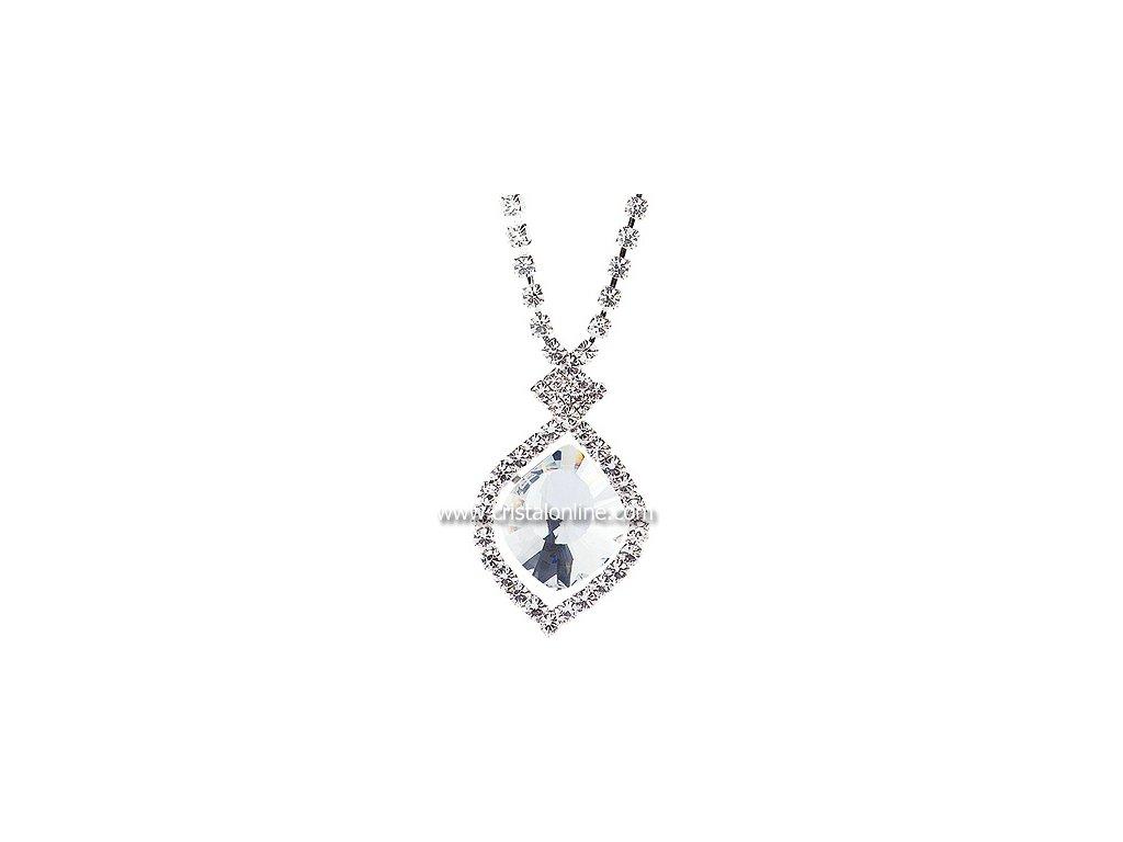 Štrasový náhrdelník s broušeným kamenem Cassiopeia v křišťálové barvě od firmy Preciosa
