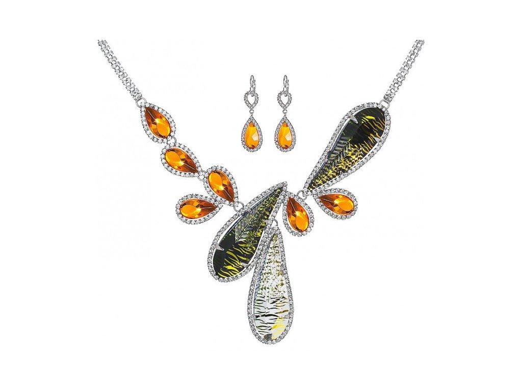 Štrasový náhrdelník a náušnice Thyra by Veronika v oranžové barvě od firmy Preciosa